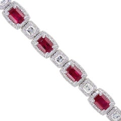 Ruby and Diamonds Bracelet set in White Gold