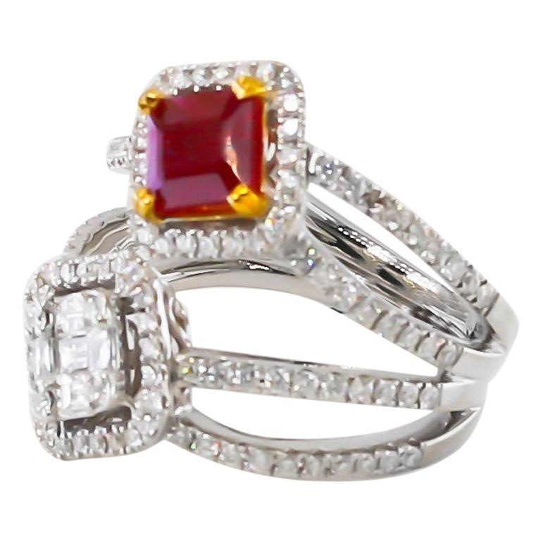 Ruby and Diamonds Ring 18 Karat Gold For Sale