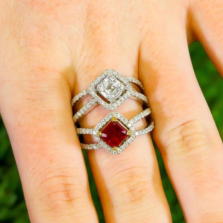Ruby = 1.02 Carat Diamonds = 1.23 Carats Metal: 18K Gold