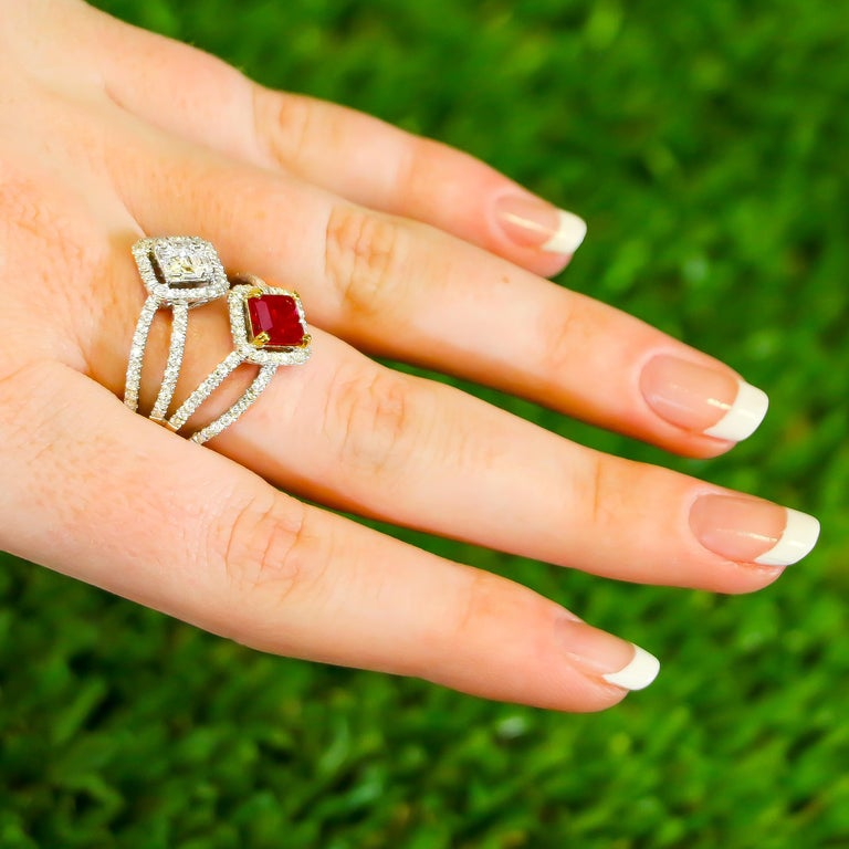 Mixed Cut Ruby and Diamonds Ring 18 Karat Gold For Sale