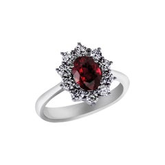 1.79 Carat Ruby and Diamonds Set in 18kt White Gold Ring