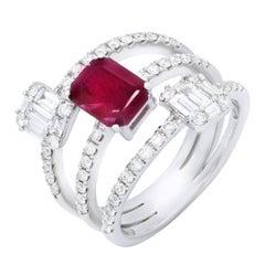 Ruby and Diamonds Three-Row Ring