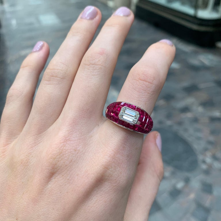 Women's or Men's Ruby and Emerald Cut Diamond Cocktail Bombé Ring Set in Platinum For Sale