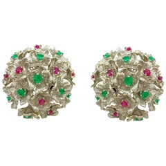 Ruby and Emerald White Gold Flower Cluster Earrings