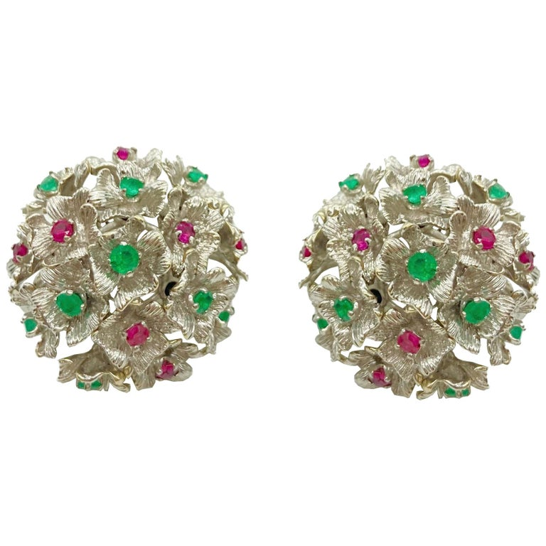 Ruby and Emerald White Gold Flower Cluster Earrings For Sale