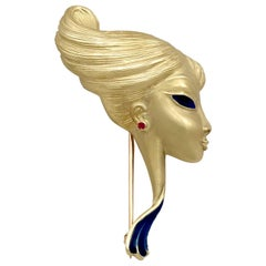 Ruby and Enamel Yellow Gold Brooch
