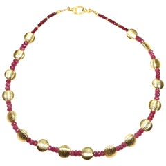 Ruby and Gold Choker Necklace