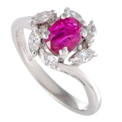 Ruby and Marquise Diamond Platinum Ring