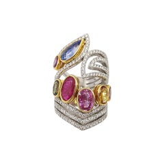 Ruby and Multi-Color Sapphire with Diamond Ring Set in 18 Karat Gold Settings
