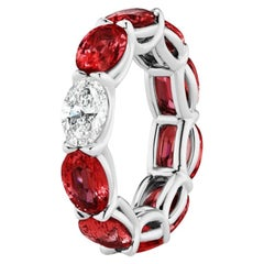 Ruby and Oval Diamond Eternity Band Ring