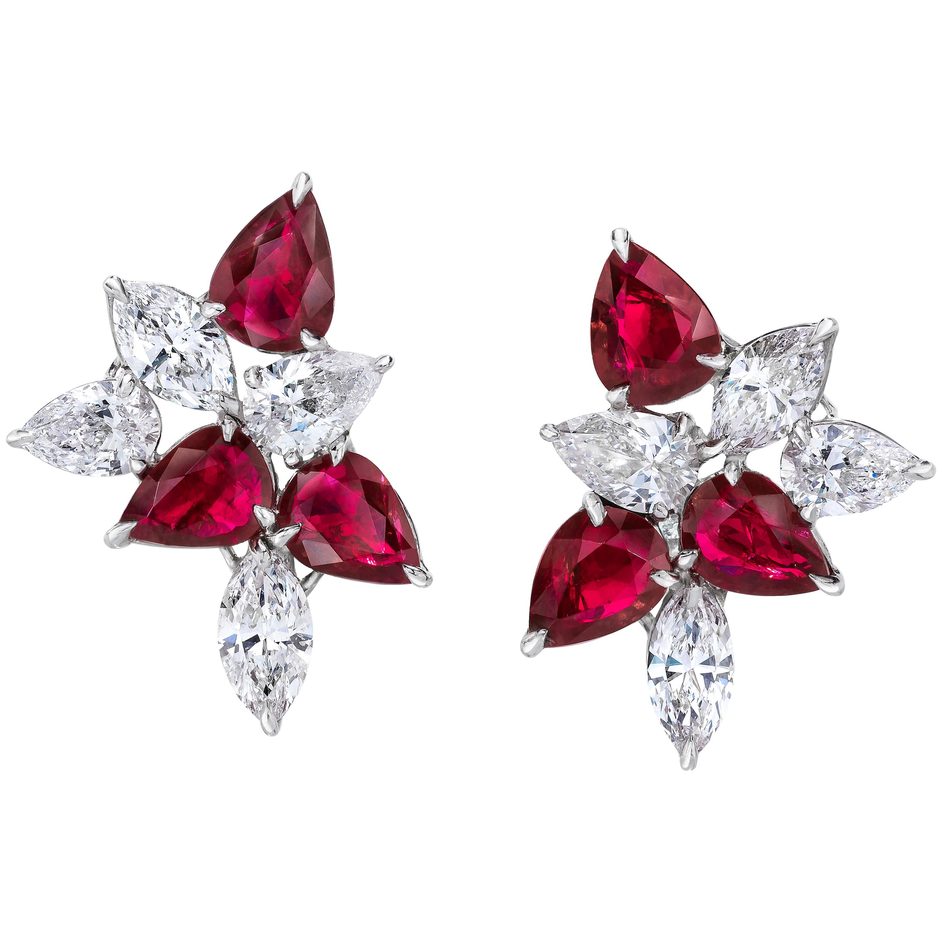 Ruby and Pear Shaped Diamond Cluster Earring