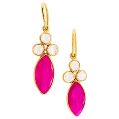 Ruby and Rainbow Moonstone Earrings, 18 Karat Yellow Gold Earring Dangles