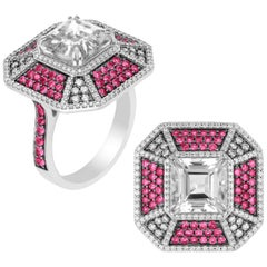 Ruby and Rock Crystal Octagon Pave Ring