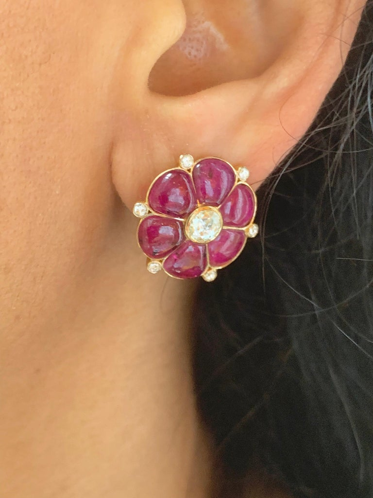 Ruby & Rose Cut Diamond 18 Karat Gold Classic Earrings by Manpriya B  3