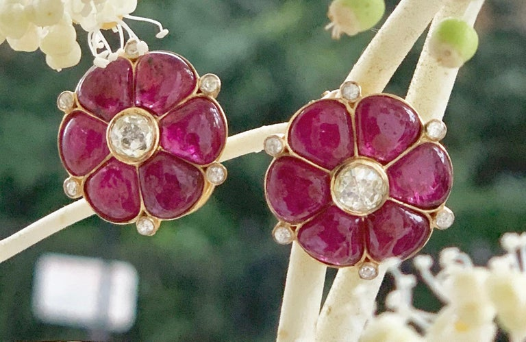 Ruby & Rose Cut Diamond 18 Karat Gold Classic Earrings by Manpriya B  5