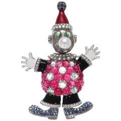 Edwardian Ruby and Rose Cut Diamond Antique Enamel Classical Clown Brooch