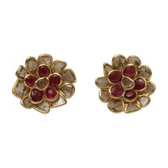 Ruby and Rose Cut Diamond Flower Stud Earrings