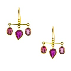 Ruby and Rubellite Gold Earrings