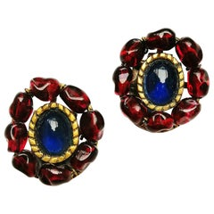 Ruby and sapphire poured glass earrings, att. Maison Gripoix for Chanel, 1930s.