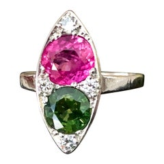 Ruby and Sapphire Twin Platinum Ring Navette