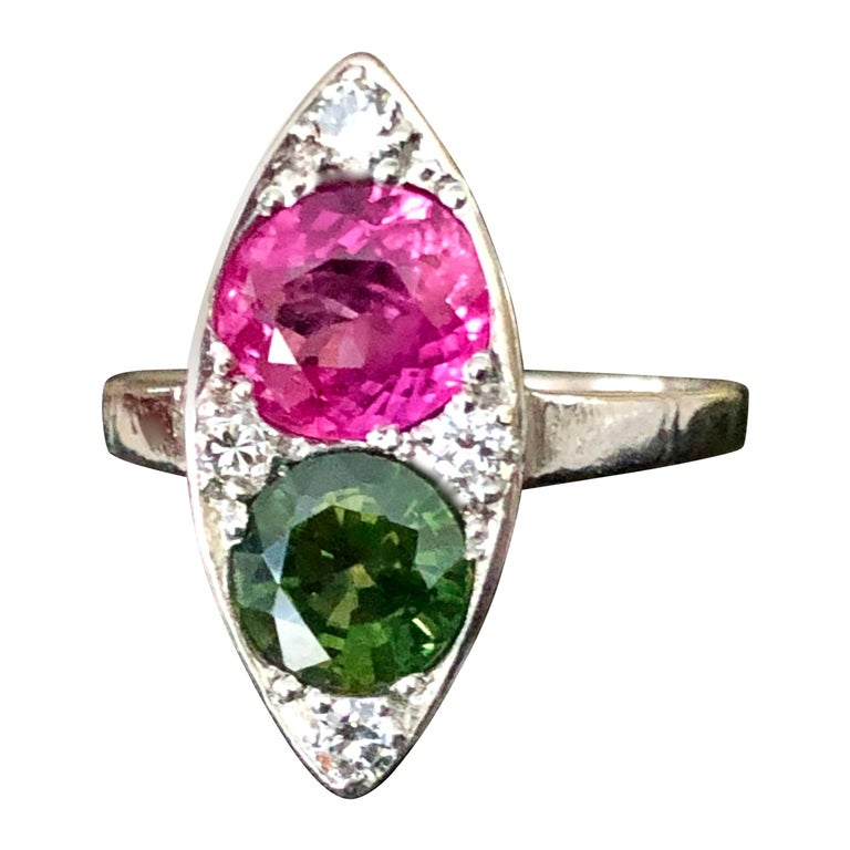 Ruby and Sapphire Twin Platinum Ring Navette For Sale