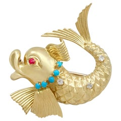 Ruby and Turquoise Diamond and Yellow Gold Dolphin Brooch