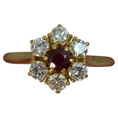 Ruby and Vvs Diamond 18 Carat Gold Cluster Ring
