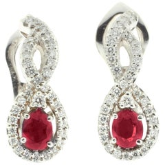 Ruby and White Diamond Drop Earrings in 18-Karat White Gold