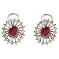 Ruby and White Diamond Earrings in 18 Karat White Gold