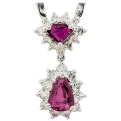 Ruby and White Diamond Pendant Necklace in Platinum