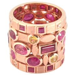 Ruby and Yellow Sapphire 18 Karat Rose Gold Multi-Band Ring
