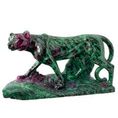 Ruby and Zoisite Cheetah Carving