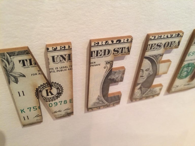 I need more (Unique Laser Cut Dollar Bills) - Contemporary Mixed Media Art by Ruby Anemic