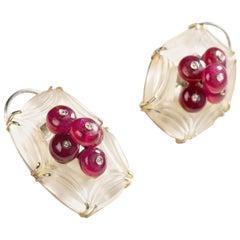 Ruby Apple Earrings in Silver with Diamonds