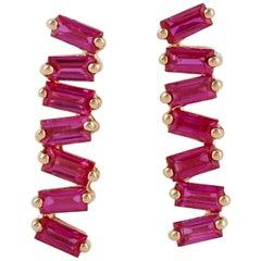 Ruby Baguette 18 Karat Gold Stud Earrings
