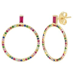 Ruby Baguette and Multicolored Gemstone Loop Earrings, Gold, Ben Dannie