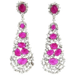 Ruby Baguette Diamond 18 Karat Gold Earrings