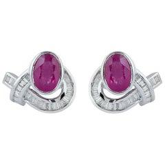 Ruby Baguette Diamond 18 Karat Gold Stud Earrings