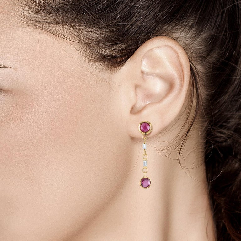 Ruby and Baguette Diamond Drop Gold Earrings  For Sale 1