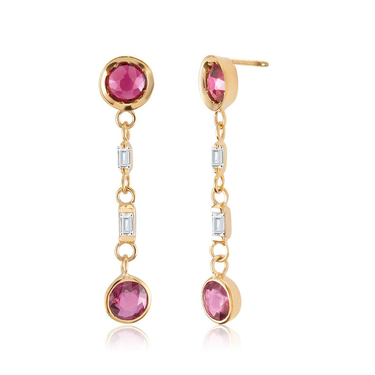Round Cut Ruby and Baguette Diamond Drop Gold Earrings  For Sale