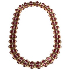 Ruby Baguette Diamonds 18 Karat Yellow Gold Necklace