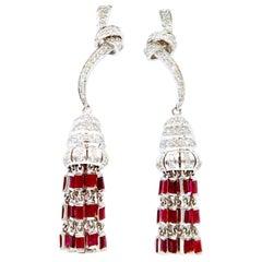 Ruby Baguette Tassle 18 Karat Gold Earrings with Diamond Knot