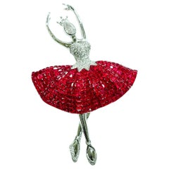 Ruby Ballerina Brooch 18 Karat White Gold in Invisible Setting