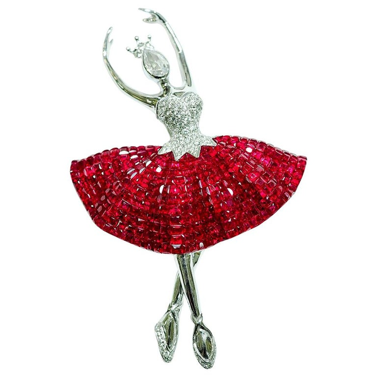 Ruby Ballerina Brooch 18 Karat White Gold in Invisible Setting For Sale
