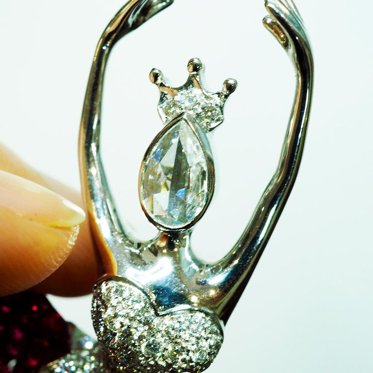 Modern Ruby Ballerina Brooch 18 Karat White Gold in Invisible Setting For Sale