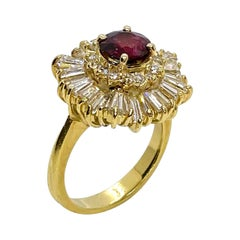 "Ruby ""Ballerina"" Ring with Baguette Diamonds, Circa 1990"