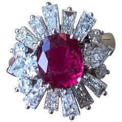 Ruby Ballerina Style Diamond Ring