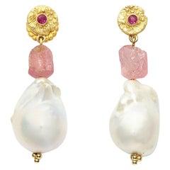 Ruby, Baroque Pearl Pink Tourmaline Earrings in 18 Karat Gold