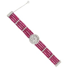 Ruby Bead and Diamond 18K White Gold Bracelet