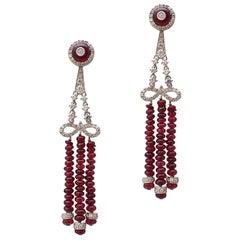 Ruby Bead and Diamond Chandelier Earrings in 18 Karat White Gold